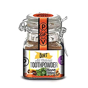 The Dirt All Natural Gluten & Fluoride Free Tooth Powder – Organic Teeth Brightening with Essential Oils | No Added Sweeteners, Artificial Flavors or Colors – 3 Flavors