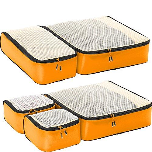 eBags Hyper-Lite Travel Packing Cubes - Lightweight Organizers - Super Packer 5pc Set - (OrangeYellow)
