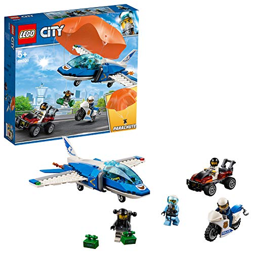 LEGO 60208 City Police Sky Police Parachute Arrest with 3 Vehicles: Aeroplane, Car and Motorbike Toys, Crook's Chase Sets for Kids