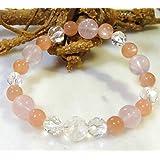天然石 パワーストーン ブレスレット 五爪の龍 水晶 オレンジ ムーンストーン ローズクォーツ  371