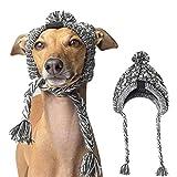 SOOTOP Cappello per Cani, Accessorio Cappelli per Cani in Maglia Grigia Cappello Invernale Caldo per Cani Cappello Antivento per Cani Palla Gonfia Copricapo Pet Forniture per Cani Piccoli Animali
