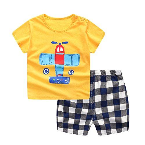 Youngii Garçon Ensembles Haut et Short, Mode Avion de Dessin animé Imprimé Chemise bébé garçon Printemps Manche Courte Tee Shirt Top + Plaid Short 0-3 Ans (Juane, 0-6 M)