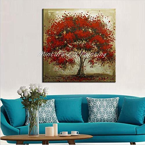 Olieverfschilderij, handbeschilderd, op canvas, bomen met planten, rood blad op bruine stam 130×130cm
