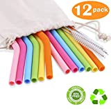 "12 Pack Silicone Reusable Straws, 6 Bend + 6 Straight Colorful Reusable Drinking Straws, 10"" Regular Size Flexible Straws with Cleaning Brushes Storage Bag for 30oz 20oz Tumblers - BPA FREE"