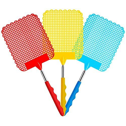 Heatigo 3 farbige Fliegenklatschen herausgezogen Werden, einziehbare einziehbare Fliegenklatschen, die manuell zur Schädlingsbekämpfung getupft wurden