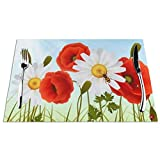 Angelo Gunter PVC Woven Placemat Poppy Grass Wallpaper Placemats Washable Table Mats Square 30X45Cm Pads