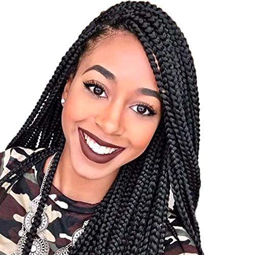 Box Braided Synthetic Lace Front Wig Black Crochet Braids Box Braid Wig Synthetic for Black Women (BLACK