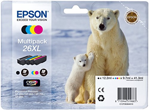 Epson C13T26364010 Cartuccia a Getto d'Inchiostro 26Xl T2636 Claria Multipack 4, da 41.3 ml, con Amazon Dash Replenishment Ready