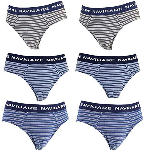 NAVIGARE underwear Slip Uomo Cotone Elasticizzato Intimo Pacco da 6 Mutande (S / 3)