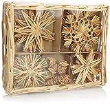 com-four 26x Strohsterne im Mix-Set - Christbaum-Schmuck - Stroh-Anhänger für den Weihnachtsbaum - natürlicher Christbaum-Behang - Weihnachtsdekoratio (026-teilig - Set3)