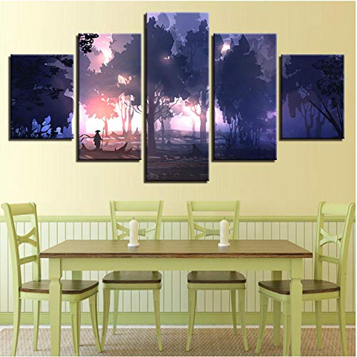 sanjiiNG Leinwand Wandkunst Bilder Wohnkultur 5 Stücke Fantasie Wald See Schiff Landschaftsbilder HD Drucke Abstrakte Anime Poster Rahmen30cmX40cmX2 30cmX60cmX2 30cmX80cmX1