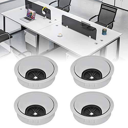 Ojal de escritorio, cubierta de orificio para cables Diseño de ranura para tarjeta antideslizante para Studio for Life para Office for Home(50 brushed alloy wire box)