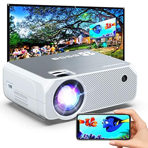 Outdoor Projector, 6000 Lux, Bomaker Portable WiFi Mini Projector for Outdoor Movies, Wireless Mirroring, for iPhone/Android/Laptops/Windows/PCs