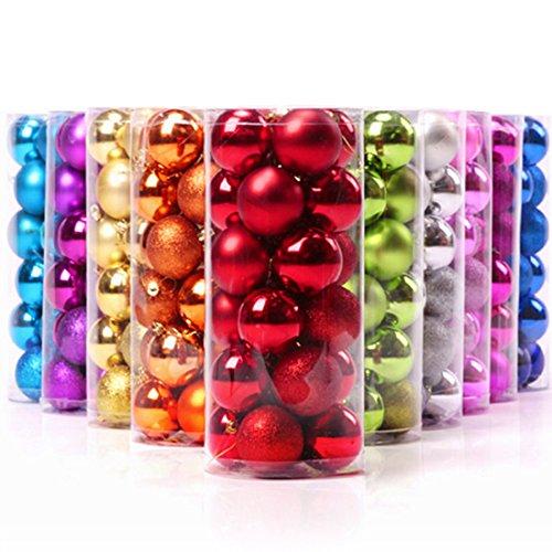 Keysui 24PCS Multicolor Bolas de Navidad Para Decorar El Árbol Decoracion Navidad Decoración Parte Adornos Christmas Decorations Naranja Tamaño 40mm/1.57