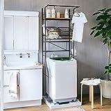 生活雑貨 洗濯機ラック ランドリーラック 棚板1枚+バスケット2個付 伸縮タイプ カゴ付 ブラウン 【大型】