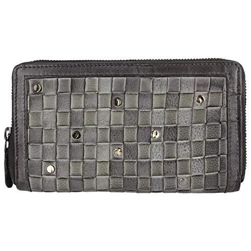 Taschendieb Wien Leder Reißverschluss Geldbörse Portemonnaie Brieftasche Portmonee TD0687, Farbe:Grau
