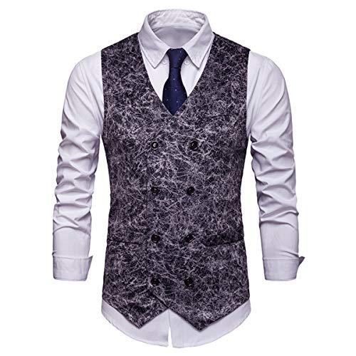 HaiQianXin Chaleco de Traje de Negocios de Doble Botonadura con Chaleco de Vestir de Moda para Hombres Club (Color : Black, Size : XL)