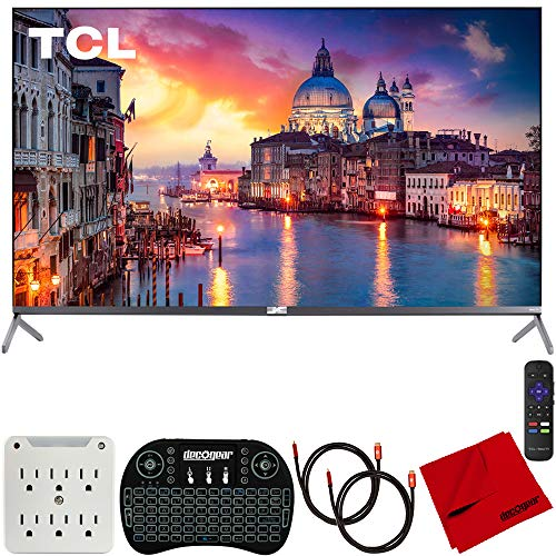 TCL 65R625 65-inch 6-Series 4K QLED UHD HDR Roku R625 Smart TV (2019) Bundle with 2X Deco Gear HDMI Cable, Wireless Keyboard, Microfiber Cleaning Cloth and 6-Outlet Surge Adapter with Night Light