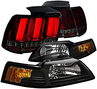 Spec-D Tuning LT2LH-MST99JRGDSQ-RS Headlight Tail Light (Black Sequential Signal LED Tube Red Smoke)