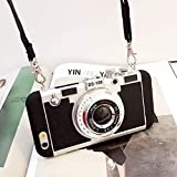 New Emily in Paris Phone Case Vintage Camera,Modern 3D Vintage Style Camera Design Silicone Cover with Long Strap Rope for iPhone 11 PRO MAX/X/XS/MAX