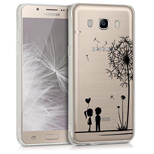 kwmobile Hülle kompatibel mit Samsung Galaxy J5 (2016) DUOS - Handyhülle - Handy Case Pusteblume Love Schwarz Transparent