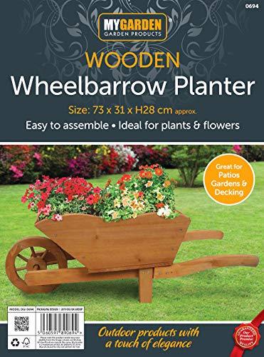 My Garden Wooden Wheelbarrow Planter - Rustic Finish Wooden Garden Ornament - Heavy Duty Wheelbarrow Decorative Garden Planter