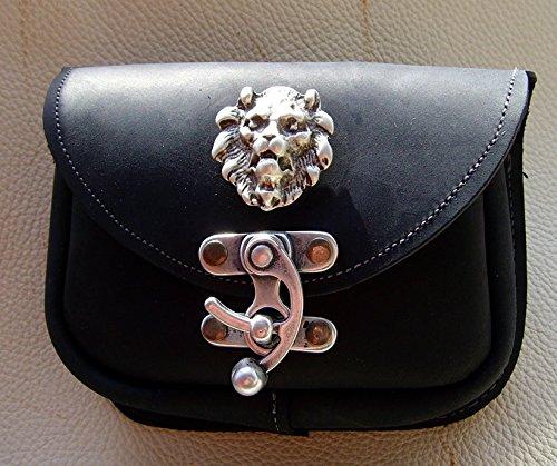 Gürteltasche Löwe Leder Farbe schwarz Leon - 3