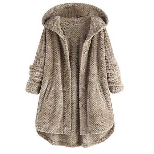 Andouy Damen Hoodies Winter Warm Kapuzenpullover Flauschige Kunstpelz Fleece Pullover Knopf-Mantel(S.Grau)