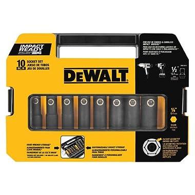 DEWALT DW22812 1/2-Inch 10-Piece IMPACT READY Socket Set (SAE)