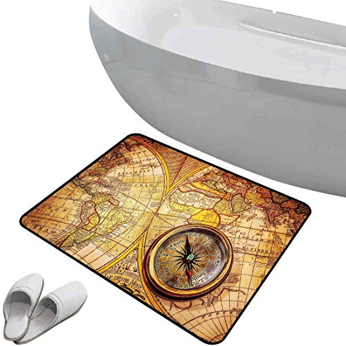 Smallgrid Non-Slip Bathroom Rug Antique Set Soft Skidproof Bath Mat Safe Area Compass On an Ancient World Map Historic Borders Century-Old Antiquity Doormat Bedroom Living Room Kitchen Decoration