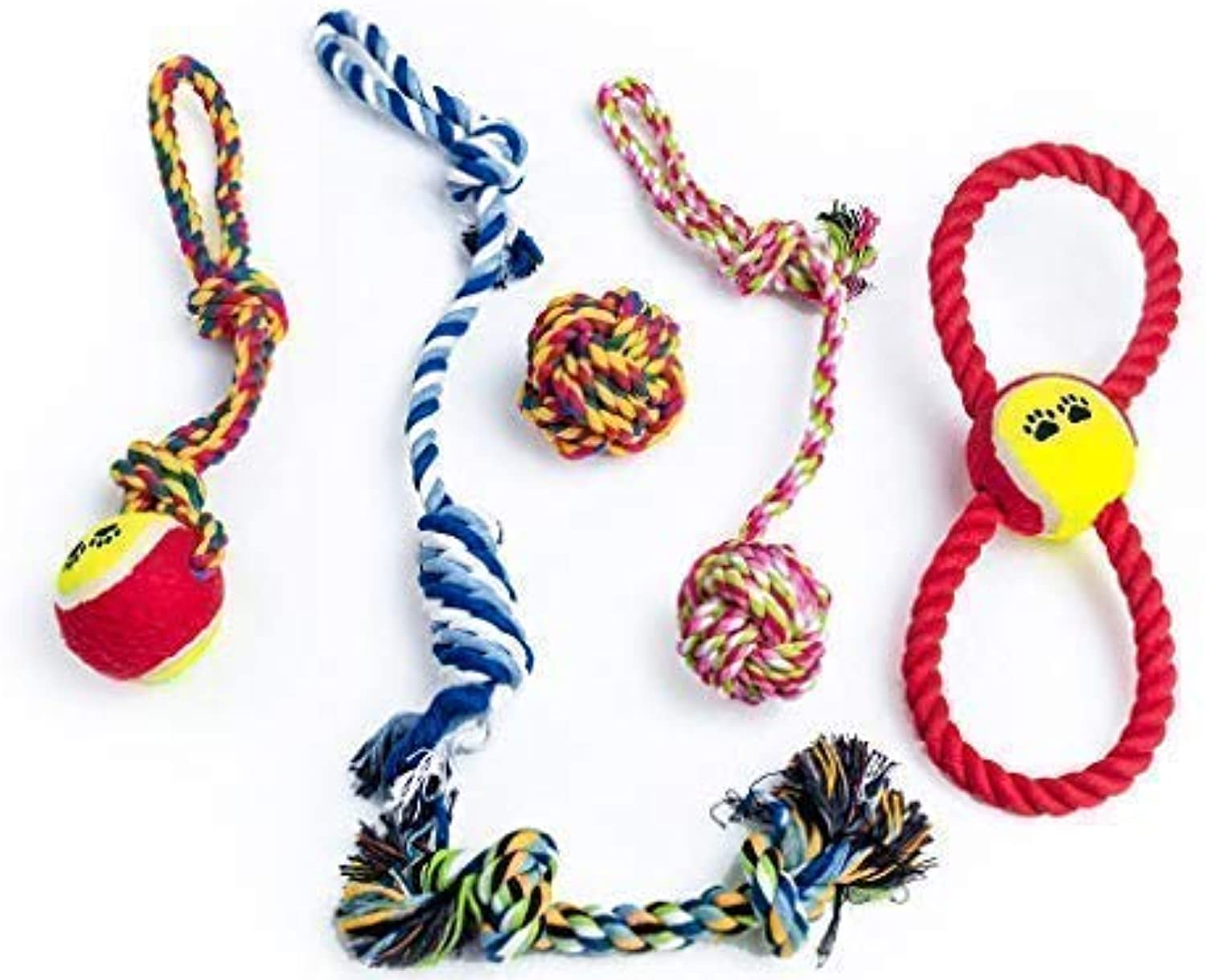 GUNTER S &J Chuppy Chew Toys 6 Pack Dog Rope Tug Toy Tough Dog Toys for Puppy &T Media Dog Playtime Cleaning Teeth