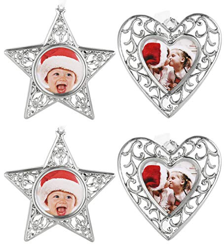 Yuokwer 4-Pack Christmas Photo Frame Ornament Metal Picture Frame Ornaments for Christmas Tree Decorations Star Heart Hanging Family Picture Keepsake Decor (4, Star and Heart)