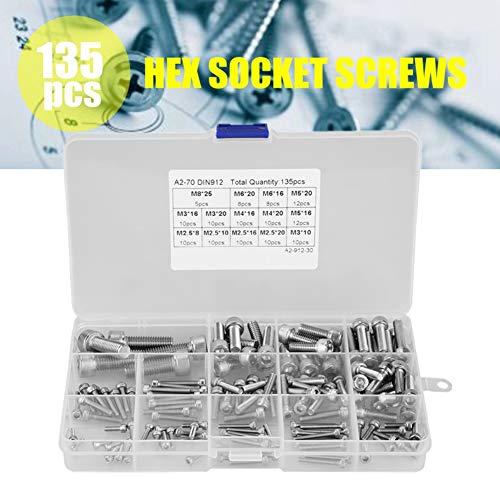 Innensechskant schrauben set edelstahl,Hex Socket Head Cap Screws 135 stücke M2.5 M3 M4 M5 M6 M8 304 Edelstahl Innensechskantschrauben Set,aus 304 Edelstahl,4 verschiedene Größen,mit Box