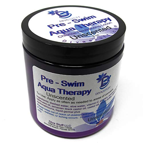 Diva stuff Pre-Swim Aqua Therapy Chlorine Neutralizing Body Moisturizing Lotion for Swimmers, Protects Skin from Chlorine and Salt Water, 8 oz - Made in the USA, Unscented