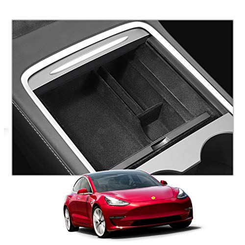 CDEFG para Tesla Model 3 2021 Update Caja de almacenamiento, Consola Central Apoyabrazos Caja del coche Interior Center Armrest Storage Box, Con Tapete Antideslizante Accesorios Interiores del coche