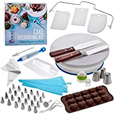Biskins Cake Decorating Equipment 75pcs with Turntable, Stainless Steel Piping Tips, Russian Tips, Slicer, Smoother, Piping Bags, 3-Color Swirl Adapter, All-in-One Baking and Decorating Supplies Kit