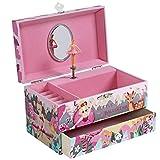 SONGMICS Caja de música Joyero con música, bailarina, caja de música con cajón, ruedas para anillos y varios compartimentos, melodía floral, bailarina, rosa, JMC012P01, 19 x 11 x 11 cm
