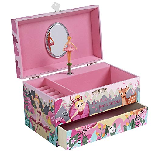 SONGMICS Musical Jewelry Box for Kids, Ballerina Jewelry Case with Drawer, Storage Compartment, Ring Slots, Waltz of the Flowers, Ballerina Theme, Pink UJMC012P01