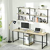 Sedeta 78.7 inches Two Person Desk with Bookshelf, Double Computer Desk with Storage Shelves, Extra Long Workstation Desk Large Study Writing Desk for Home Office, Oak