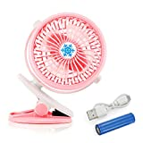 Oct17 Portable Stroller Table Fan Rechargeable Battery USB Mini Battery Operated Clip on Mini Desk Fan For Home Office Baby Stroller Car Laptop Study Gym Camping Tent - Pink