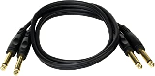 Seismic Audio 3 Foot Dual 1/4 Inch TS Male Audio Cable-Mono Interconnect Cord (SA-DQTS3