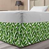Ambesonne Banana Leaf Elastic Bed Skirt, Vibrant Foliage from Madagascar Island Lively Green Nature Themed Art, Wrap Around Fabric Bedskirt Dust Ruffle for Bedroom, Twin/Twin XL, Lime Green