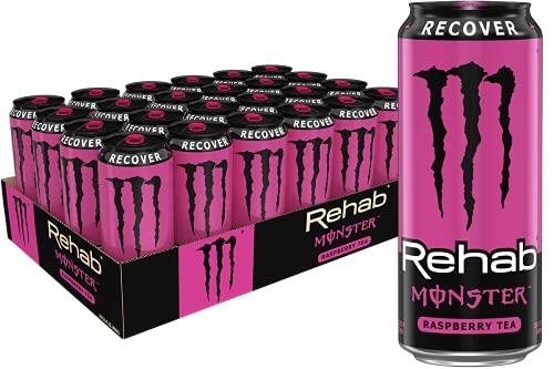 Monster Rehab Energy Drink, Raspberry Tea, 372 Fl Oz (Pack of 24)
