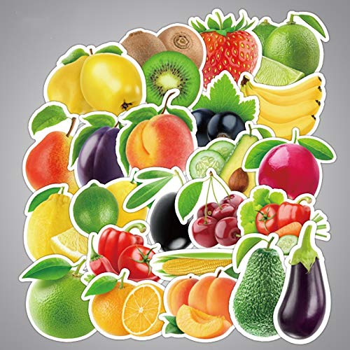HENJIA Dibujos Animados de Frutas y Verduras Frescas Pegatinas para Cocina panadería Taza Plato refrigerador niños educación Juguetes 25 Piezas