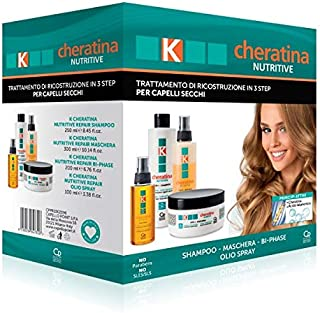 K-Cheratina Nutritive - Trattamento Professionale Capelli Secchi - Contiene lo Shampoo Ricostruzione, lo Spray Bifasico, l...