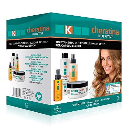 K-Cheratina Kit Nutritive - Trattamento Professionale Capelli Secchi - Contiene lo Shampoo Ricostruzione, lo Spray Bifasico, la Maschera all Acido Ialuronico e l Olio Spray Ultra-Nutriente