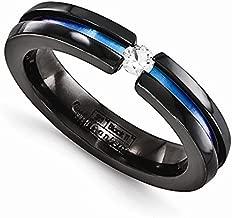 Edward Mirell Black Titanium Tension Set White Sapphire and Blue Anodized 4mm Wedding Band