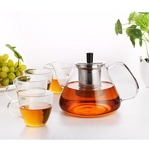 Homfa 1350ml Teekanne Glaskanne mit 4 Gläsern Tee Set Hitzebeständig mit herausnehmbarem Edelstahlfilter