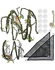 PietyPet 21 Piezas Reptiles Lagartija Decoración del hábitat, 2 Dragon Barbudo TelaHamaca Hamaca Reptilcon Enredaderas Artificialesy Plantaspara Camaleón, lagartos, Gecko, Serpientes