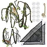 21 pezzi Rettile Lucertola Habitat Accessori, PietyPet BarbutoDrago Amaca, 2 Tessuto Rettile Amaca con Rampicanti Artificiali e Piante per Anfibi, Camaleonte, Lucertole, Geco, Serpenti